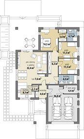 Bianka - Rzut parteru Minimalist House Design, Minimalist Home, Building Design, Building A House, Single Storey House Plans, Revit Architecture, Cottage Plan, Dream House Exterior, Conceptual Design