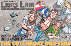 The Cutthroat Drifters - Band Poster - Pen and Ink by Jonathan Cazares - Photoshop Color and Design by Angela Arrington