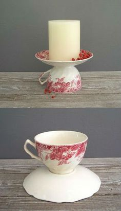 A teacup glued to the bottom of a tea cup plate!