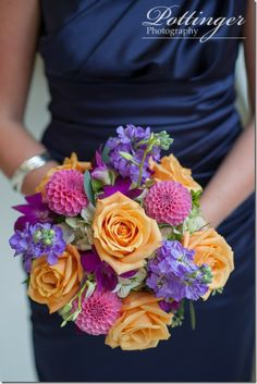 bridesmaid wedding bouquet purple and orange pink roses fall wedding Purple Wedding Bouquets, Prom Flowers, Wedding Bridesmaids, Wedding Colors, Wedding Flowers, Bridal Bouquets, Christmas Wedding, Fall Wedding, Dream Wedding
