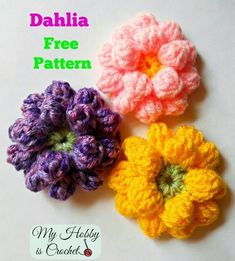 Crochet Flower Patterns Crochet Dahlia Flower- Free Pattern with photo tutorial.so many possibilities! - Dahlia flower free crochet pattern by My Hobby is Crochet; Crochet Video, Crochet Diy, Crochet Crafts, Crochet Projects, Ravelry Crochet, Crochet Instructions, Appliques Au Crochet, Crochet Motifs, Yarn Flowers