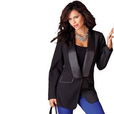 Tuxedo Jacket by Denim 24-7, Now: $69.99 - $79.99, Item #: 0532-66855-1041, Our tuxedo jacket is all about drama with a standout satin lapel, and draws the eyes in & creates a natural hourglass shape. This jacket adds a striking femininity to a menswear-inspired silhouette that will make you feel confident & comfortable in any situation. The single-button front is a modern touch. 2 functional front flap pockets are accented with satin trim for an extra detail. Polyester/rayon. Machine…