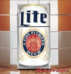 Miller Lite refrigerator wraps Gotta get this for my beer fridge once I get a beer fridge. Refrigerator Decoration, Refrigerator Wraps, Vintage Refrigerator, Miller Lite Gifts, Miller Lite Cake, Beer Fridge, Hobbies For Men, Star Wars Kids, Man Cave Bar