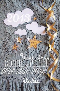 Happy New Year 2013 ! ☆  created by Floriane Caux  www.florianecaux.com    #happynewyear #typography #typo #cloud #stars #étoiles #nuage