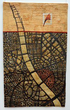 Mary & Patch: Carrefour Européen du Patchwork, St-Marie, France, map art quilt by Eszter Bornemisza