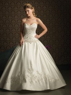 Ball Gown Sweetheart Cathedral Train Satin Wedding Dress with Embroidery