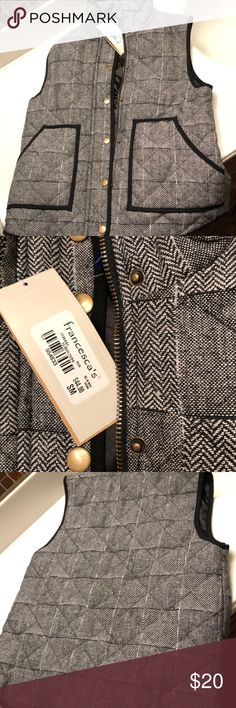Quilted best Brand new, never worn, w/tags Size small- Brand new, never worn, black and white quilted zip up vest. Francesca's Collections Jackets & Coats Vests