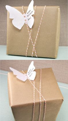 Simple and cute wrapping idea for a shipping box