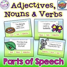BoomLearning.com - Amazing authors make awesome learning content! Strengthen your students grammar skills with this parts of speech deck. Students identify the underlined word in each sentence as an adjective, noun or verb. This fun spring theme will engage your students and have them asking for more! (34 cards)  CCSS.ELA-LITERACY.L.2.1