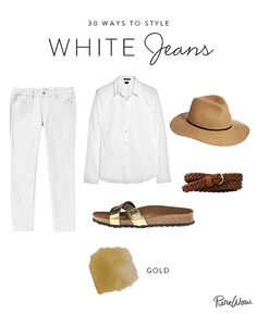 Obvious statement of the year: Metallics work best as accents. And there's no better way to pull off a surprising touch of shine than via now-fashionable Birkenstocks. For a sophisticated base, put your favorite white button-down and safari-esque hat to good use.