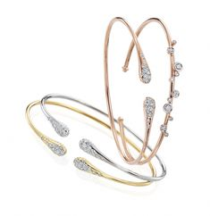 Yellow, White, & Rose gold bracelets by Ponte Vecchio! Wear one or mix and match stacks! Pearl Jewelry, Gold Jewelry, Jewelry Gifts, Jewelry Accessories, Fine Jewelry, Jewellery, Diamond Bracelets, Gold Bracelets, Diamond Jewelry