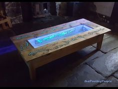 LED epoxy resin river table - YouTube