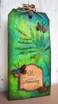 Dylusional inks and salt and Tim Holtz Distress Crackle Paint in Rock Candy