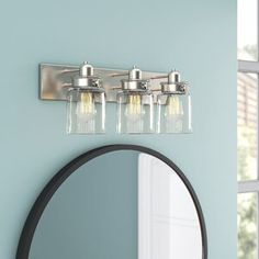 Polaris Large Framed Wall Mirror & Reviews | Joss & Main Living Treasures, Mirror Backsplash, Wall Tile, Single Bathroom Vanity, Bathroom Vanities, Bathroom Ideas, Bathrooms, Farmhouse Interior, Spice Jars