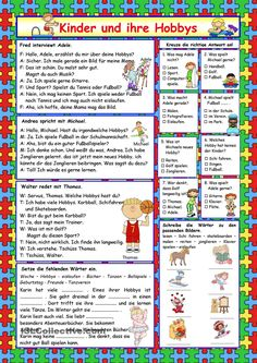Reading comprehension for elementary level about kids and their hobbies. Comprehension exercises and key included. German Grammar, Teaching English Grammar, English Grammar Worksheets, German Language Learning, Grammar Lessons, Comprehension Exercises, Reading Comprehension, Deutsch Language, Hobbies For Kids