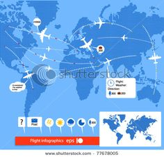 Stock Vector Illustration:  Flight infographics. Civil airplanes trajectories on world map with notes