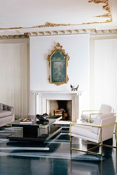 living room, sophisticated, designed by catherine kwong for the san francisco decorator showcase, and inspired by mick & bianca jagger in the '70's