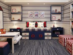 Decoração quarto infantil menino azul e vermelho - cama mesa listras navy (Projeto: Marcelo Rosset)