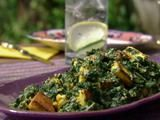 Saag Paneer: Spinach with Indian Cheese Recipe from food network - serve over rice - ridiculously good