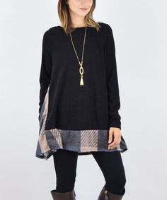 Loving this ONE-DAY DEAL! - Black & Dusty Pink Plaid-Accent A-Line Tunic on #zulily! #zulilyfinds