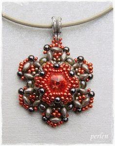 v-perlen - vedhæng med rød rivoli