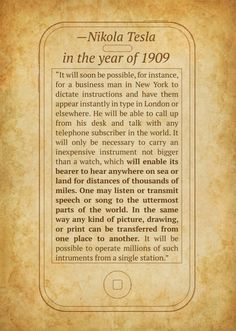Wow in 1909 this man accurately predicted the future! #humanpower #nikola tesla fascinating facts you learn everyday
