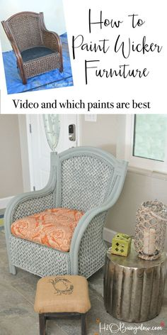 furniture muebles How to paint wicker furniture with a paint sprayer. Tutorial and video shows how to paint a wicker chair with what paints to use on wicker for best results. Redo Furniture, Colorful Furniture, Iron Furniture, Furniture Chair, Cool Furniture, Rattan Furniture, Wicker Patio Furniture, Painting Wicker Furniture, Furniture Makeover
