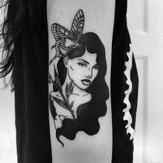 , thank you Anna 🌹 Black Tattoos, Body Art Tattoos, Girl Tattoos, Tattoos For Women, Grey Tattoo, Tattoo Ink, Tatoos, Skull Girl Tattoo, Pin Up Girl Tattoo