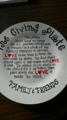 The Giving Plate. Hand painted. Love, Gratitude, Easter, Sharing, Food, One of a…