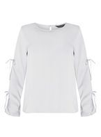 Womens Silver Double Tie Blouse- Silver