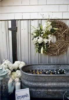 rustic idea for storing beverages at the reception!