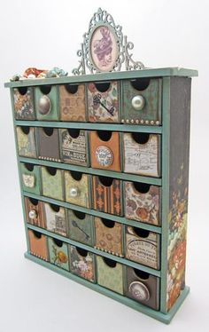 Decoupage those apothecaries in the garage for holiday storage?