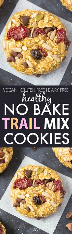 No Bake Trail Mix Cookies (V, GF, DF)- Easy, fuss-free and delicious, this healthy no bake thick and chewy cookie combines cereal and customizable add-ins in one! {vegan, gluten free, sugar free recip (Simple Gluten Free Recipes)
