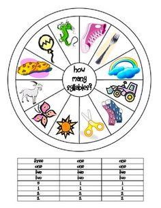 Kinder How Many Syllables Wheel & Clothespin Activity