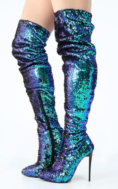 Pointy Toe Mermaid Sequin Thigh High Boots | MakeMeChic.com