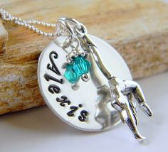 Personalized Gymnastics Necklace, Sterling Silver, Handstamped Necklace, Tumbling, Acrobatics, Dance,  by RosesDesigns