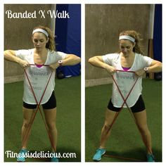 Banded X Walk- FAI Recovery Update & Strength Training Exercises: fitnessisdelicious.com