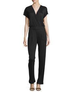 Kimono Wrap Jumpsuit, Black