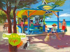 'Green Flash Cafe' by Shari Erickson Caribbean Culture, Caribbean Art, West Art, Virtual Art, Beach Color, Tropical Art, Beach Art, Pictures To Paint, American Artists
