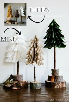 DIY your own rustic-looking felt and wood mini Christmas trees.