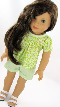 Handmade American Girl Doll Clothes Spring Summer Shorts Outfit by AvannaGirl on Etsy https://www.etsy.com/listing/226420571/handmade-american-girl-doll-clothes