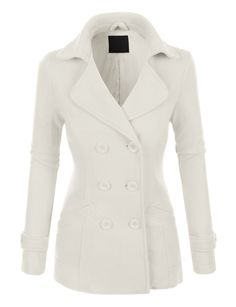 Womens Classic Fully Lined Double Breasted Pea Coat Jacket >>> Be sure to check out this awesome product. Winter Coats Women, Coats For Women, Jackets For Women, Clothes For Women, Look Fashion, Fashion Outfits, Fall Fashion, Slim Fit Jackets, Outerwear Women