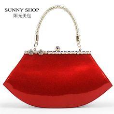 SUNNY SHOP 2016 Party bag E vening Bag women's leather handbag shiny diamonds red married bridal bags fashion evening bag 40ZY