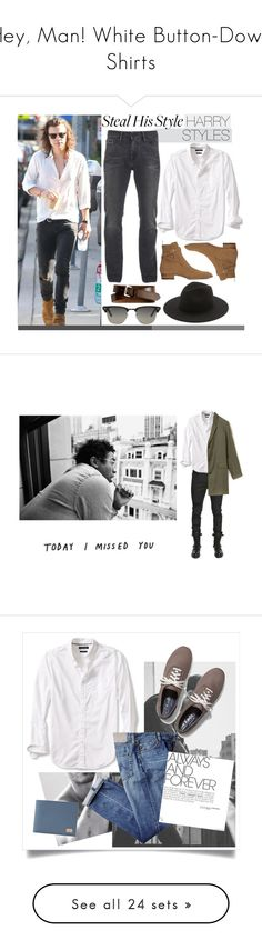 """Hey, Man! White Button-Down Shirts"" by polyvore-editorial ❤ liked on Polyvore featuring menswear, whitebuttondownshirts, Banana Republic, Yves Saint Laurent, Ray-Ban, Calvin Klein, Études, men's fashion, harrystyles and celebstyle"
