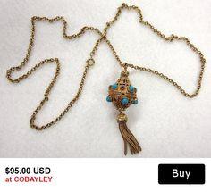 Florenza Perfume Locket Gold Turquoise Vintage Etruscan Style