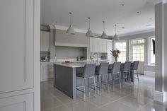 Beautiful hand painted kitchen, seating on the island, kitchen dinner, Shaker kitchen,