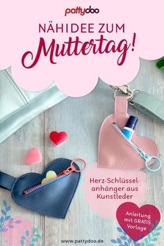 Sew a small heart bag yourself - pretty gift idea for Mother's Day or for a dear friend, quickly sewn, perfect for beginners, with zipper or press stu Feed Bag Tote, Feed Bags, Ideas Prácticas, Pouch, Wallet, Small Heart, Shopping Sites, Gifts For Friends, Diy And Crafts
