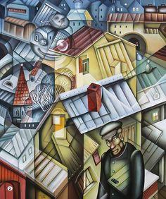 Marshalling Yard Winter by Eugene Ivanov  #eugeneivanov #cubism #avantgarde #threedimensional #cubist #artwork #cubistartwork #abstract #geometric #association #@eugene_1_ivanov