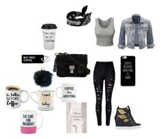 """""""4 cups of coffee and a wine glass"""" by cheshire-wolf on Polyvore featuring LE3NO, Fallon, maurices, WithChic, Giuseppe Zanotti, Proenza Schouler, MICHAEL Michael Kors, Kate Spade and Urban Outfitters"""