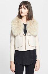 Halston Heritage Cropped Jacket with Genuine Fox Fur Collar